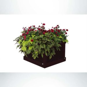 Model #PPS9PL202O88D. Outdoor Square Planter. 26in. x 18in., Brown, Expanded Metal.