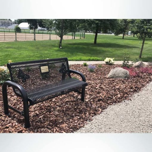 Model #PPS9741M3000. Grand Contour memorial bench. 4 foot, black, expanded metal, direct bury.