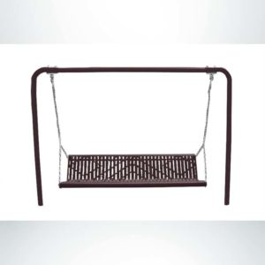Model #PSS971S12O88C. Grand Contour outdoor bench swing. Brown, laser cut, direct bury.