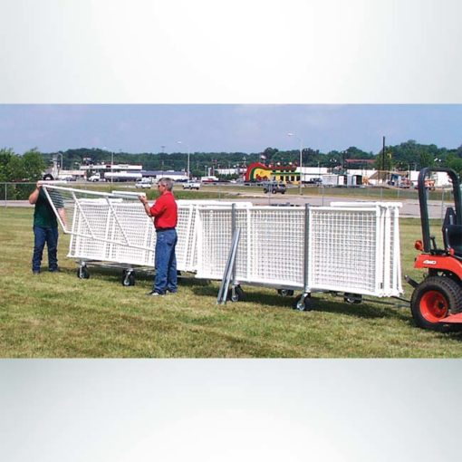 Signature Fence Sport Panel. Outfield portable fencing. Outfield portable fencing on transport cart.