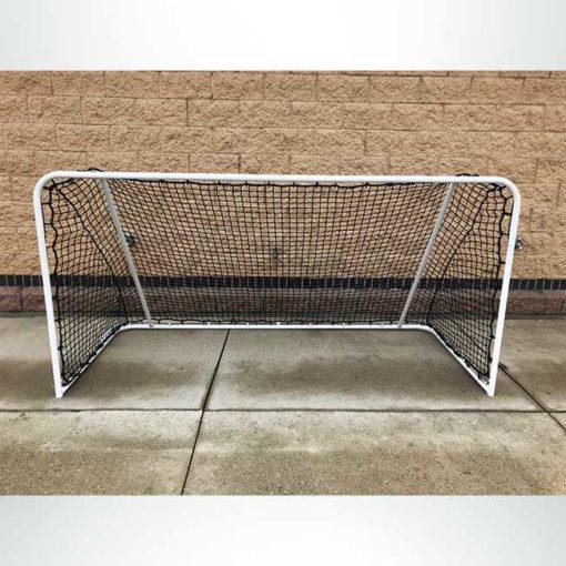 Custom 4'x8' small sided steel soccer goal. Powder coated white with black net.