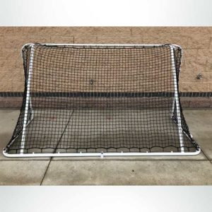 Custom 4'x8' small sided steel soccer goal. Powder coated white with black net.