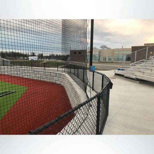Tie-back backstop net system for baseball field allowing for better site lines for the spectators.