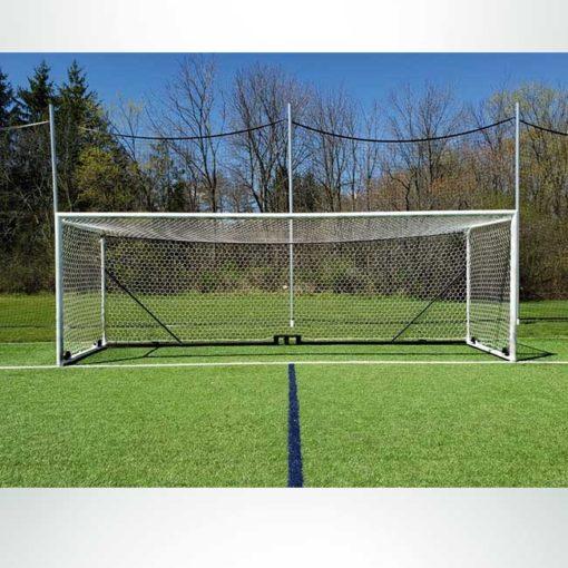 "Model #NP4HEX3082466HPBOX. Box style 3mm braided hexagonal 4"" mesh black and white soccer net."