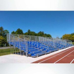 Model #10R25A1GR. 10 row 25'L bleachers with guardrail and royal blue risers.
