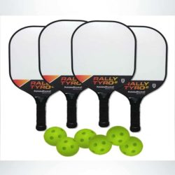 Model #DOUGPB33168. Pickleball paddles and balls.