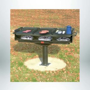 """Model #PILRQ32460. Large group multi-level grate grill. 1220 square inches of cooking area. Grill firebox measures 24"""" x 60"""" x 10"""" high sides."""