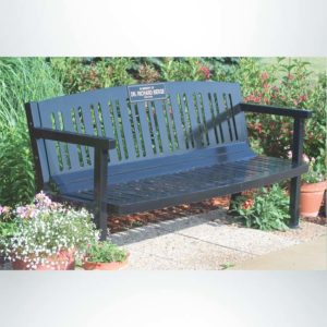 Model #PILRB102. Amherst Series All Steel 6 Ft. Contour Memorial Bench With Custom Laminate Plaque for Parks, Schools and Businesses. Powder Coated Black.