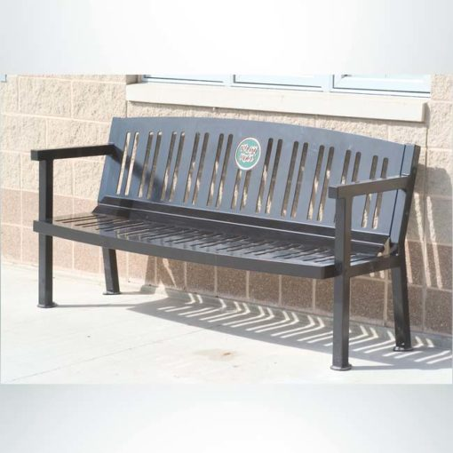 Model #PILRB102. Amherst series all steel 6 ft. contour bench with custom laminate plaque for parks, schools and businesses. Powder coated black.