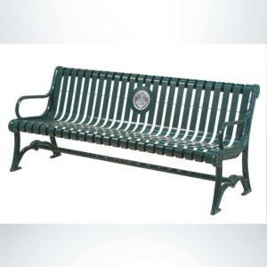 Model #PILRB94. Oak Knoll Series 8 ft. cut steel plate contour bench with custom laminate plaque for schools and businesses. Powder coated green.