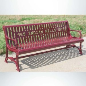Model #PILRB94. Oak Knoll Series 8 ft. Cut Steel Plate Contour Bench for Parks, Schools and Businesses. Custom Message Cut into Backrest. Powder Coated Red.