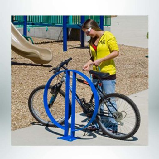 Model #PILRBR20. 2 bike hoop rack powder coated blue. Can be installed singly or in groups.