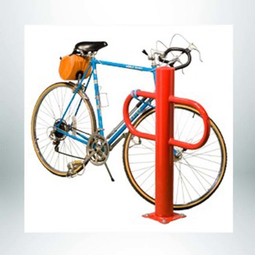 Model #PILBR2. Single post bollard 2 bike-bike rack powder coated red.