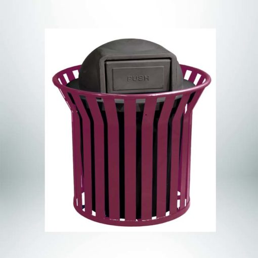Model #PILRCNRSS2. Vertical steel strap round 36 gallon trash receptacle with plastic dome lid. Powder coated burgundy.
