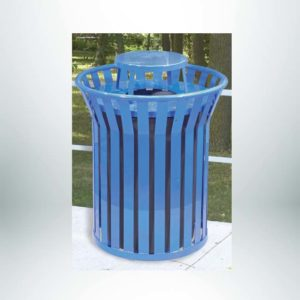 Model #PILRCNRSS2. Vertical steel strap round 36 gallon trash receptacle powder coated blue for parks, schools and businesses.
