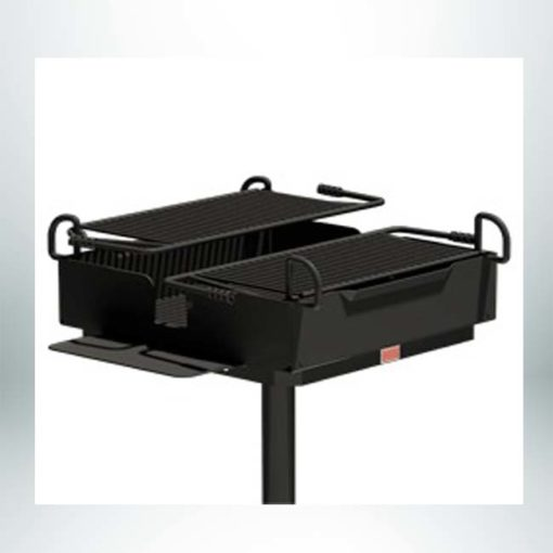 Model #PILRD248. 1040 sq. inches of cooking area on twin grates over one firebox. Grill attached to base post with a swivel mechanism.