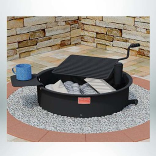 Model #PILRFSW. Campfire ring with single level swivel cooking grate. 300 sq. inches of single level swivel grate that will move 180 degrees from over fire to completely out of fire ring.