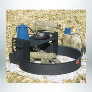 Model #PILRL32. Multi-level campfire ring with grate. Cooking grate is 300 sq. inches and hinged to tip over fire or out of ring.