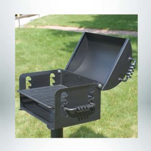 Model #PILRN20. Charcoal grill with 300 sq. inches of cooking area on a four level adjustable cooking grate. Grill attached to base post with a swivel mechanism.