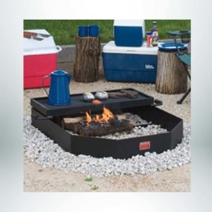 Model #PILRO34. Large group campfire ring for large campfires or smaller cooking fires under grate. Cooking grate is 510 sq. inches and hinged to tip over fire or out of ring.