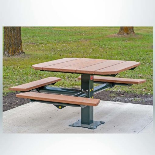 """Model #PILRQT3-4. Wheelchair accessible square pedestal picnic table with central steel post. 48"""" square top. 32"""" table height. 20"""" seat height. For parks, schools, businesses and restaurants."""