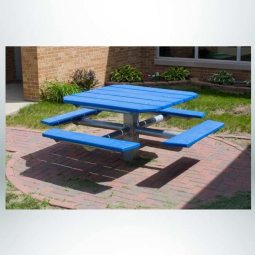 """Model #PILRQT4. Square pedestal picnic table with central steel post. 48"""" square top. 32"""" table height. 20"""" seat height. For parks, schools, businesses and restaurants."""