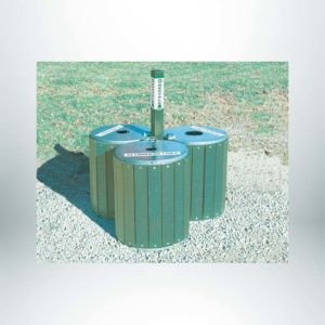 "Model #PILRRA3G. 3 module recycling array. Made with recycled plastic. Anchors included. 4"" x 4"" square center post."