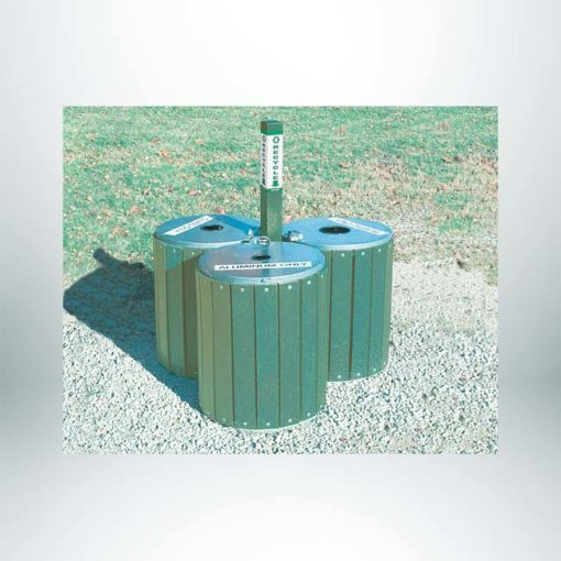 """Model #PILRRA3G. 3 module recycling array. Made with recycled plastic. Anchors included. 4"""" x 4"""" square center post."""
