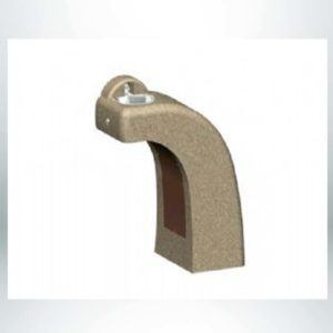 """Model #PRDFH. Handicap accessible concrete drinking fountain with optional side faucet. 34"""" x 14.5"""" x 36""""."""