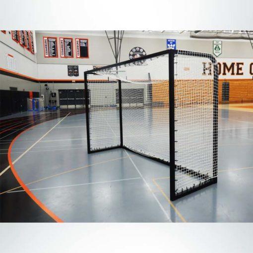 "Model #SGEFUTSAL. Black futsal goal made of 2"" square aluminum."