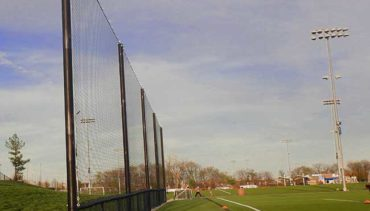 Backstop netting for soccer complex.