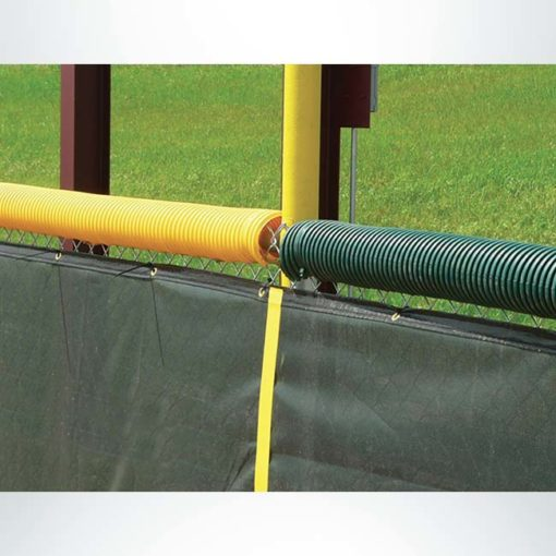 Model #FCECON100. Economy fence cap for baseball and softball field fences. Bright yellow and green.