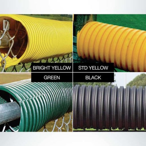 Model #FCECON100. Economy fence cap for baseball and softball field fences. Bright yellow, standard yellow, green, black color options.