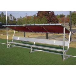 Covered athletic team bench. Maroon cover. Many colors available.