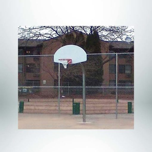 Model #KG490. Gooseneck basketball pole with 90 degree bend.