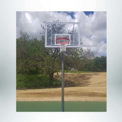 "Model # KG49054PC. Gooseneck basketball pole with 54"" backboard."