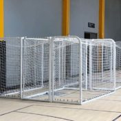 Model #SGEFUTSALCABPC. Movable Futsal Goals Made of 2in. Square Aluminum at Indoor Soccer Facility.