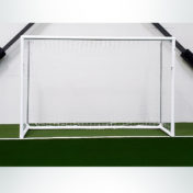Model #MSGC3RDFUTSAL. 3in. Round Aluminum Futsal Goal at Indoor Soccer Facility.