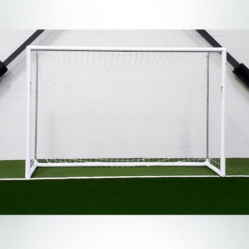 "Model #MSGC3RDFUTSAL. 3"" round aluminum futsal goal at indoor soccer facility."