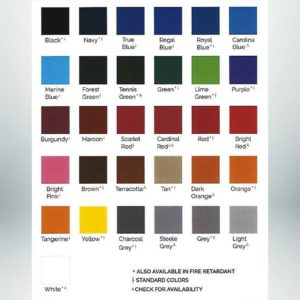 Color options for vinyl outdoor padding for athletic facilities. Black, navy, true blue, regal blue, royal blue, cardinal blue, marine blue, forest green, tennis green, green, lime green, purple, burgundy, maroon,scarlet red, cardinal red, red, bright red, bright pink, brown, terracotta, tan, dark orange, orange, tangerine, yellow, charcoal grey, steele grey, grey, light grey.