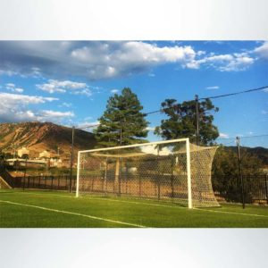 Model #ECONS80. Semi-permanent soccer goal with net storage bar and hex mesh soccer goal net.