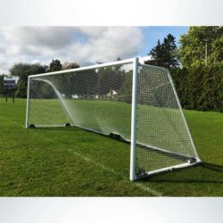 "Model #M88WRD4824CB. Regulation wheeled soccer goal with 4"" mesh net and caster wheel backbar."