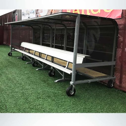 Model #PPS20. Box style shelter. Freestanding bench with top shelf.