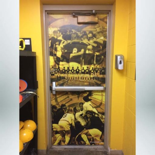 Single door wrap with sports pictures of school teams.
