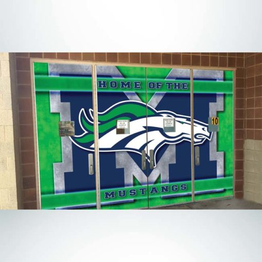 Door wrap at school entrance with blue, green, white and grey graphics.