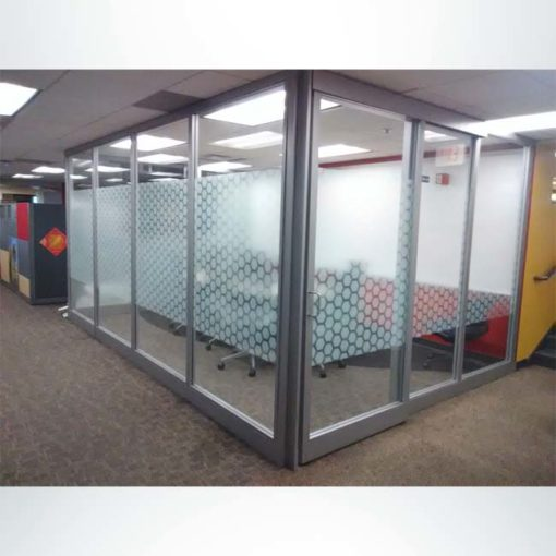Frosted crystal (etched) glass on office windows to dress up the look of your school.