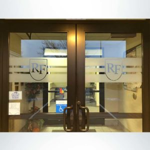 School branding frosted crystal (etched) glass on school entrance door to dress up the look of your school.