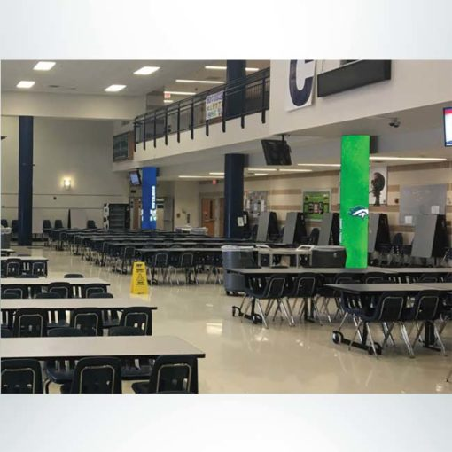 School branding round concrete pillar wraps. Blue and green with logo in school cafeteria.