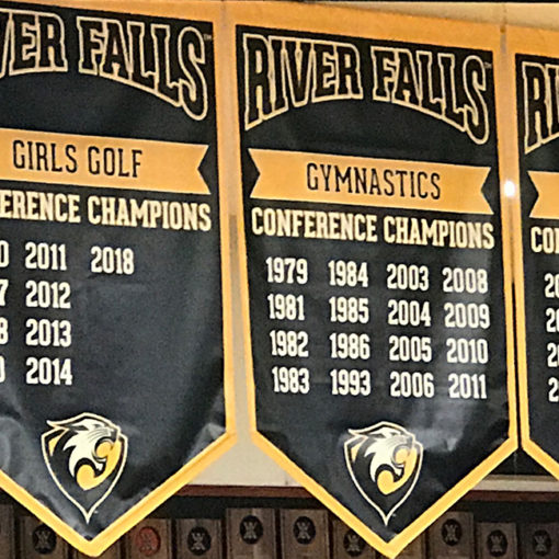 Vinyl gym championship banners 4' x 6' in black, gold and white to hang in gymnasium.