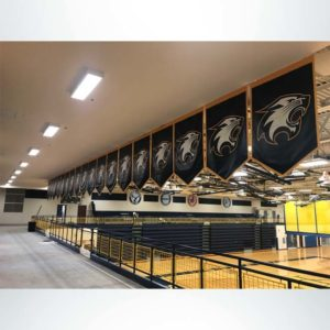 Back side of vinyl gym championship banners 4' x 6' in black, gold and white to hang in gymnasium.